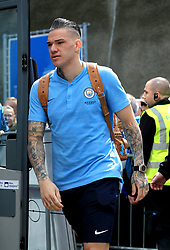 Manchester City's Ederson arrive for Premier League match at the AMEX Stadium, Brighton.