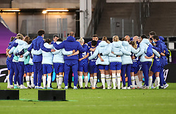 Chelsea manager Emma Hayes (hidden) leads a huddle with players after defeat in the UEFA Women's Champions League final, at Gamla Ullevi, Gothenburg. Picture date: Sunday May 16, 2021.