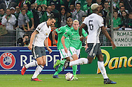 Zlatan Ibrahimovic Forward of Manchester United shoots at goal during the Europa League match between Saint-Etienne and Manchester United at Stade Geoffroy Guichard, Saint-Etienne, France on 22 February 2017. Photo by Phil Duncan.