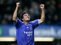 Photo: Tom Dulat.<br /> <br /> Chelsea v Queens Park Rangers. FA Cup Third Round. 05/01/2008. <br /> <br /> Chelsea's Claudio Pizarro celebrates his opener of the game. Chelsea leads 1-0.