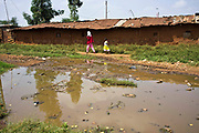 A street scene in the Kiandutu slum. Open sewers are a regular scene in the biggest slum in Thika, Kenya.