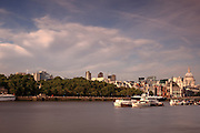 Long exposure shot of the view from the South Bank at the Oxo Tower, north towards the City of London