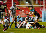 Leicester Tigers scrum-half Richard Wigglesworth passes the ball during a Gallagher Premiership Round 7 Rugby Union match, Friday, Jan. 29, 2021, in Leicester, United Kingdom. (Steve Flynn/Image of Sport)