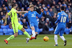 Martin Samuelsen of Peterborough United gets to the ball before Southend United's Stephen Hendrie - Mandatory byline: Joe Dent/JMP - 16/01/2016 - FOOTBALL - ABAX Stadium - Peterborough, England - Peterborough United v Southend United - Sky Bet League One