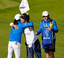 Auchterarder, Scotland, UK. 15 September 2019. Sunday final day at 2019 Solheim Cup on Centenary Course at Gleneagles. Pictured; Celine Boutier of Europe wins 2&1 at the 17th hole over Annie Park of the USA.  Iain Masterton/Alamy Live News