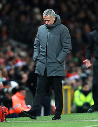 Manchester United manager Jose Mourinho appears dejected