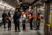 A TFL worker advises passengers to further direction of their destination as the Jubilee Line stopped working On Saturday, January 11 and Sunday, January 12, including during Friday and Saturday Night Tube. There will be no service between Waterloo and Wembley Park. This is due to track replacement work TFL said on Saturday Jan 11, 2020. (Photo/Vudi Xhymshiti)