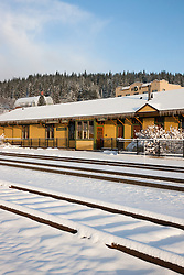 """Snowy Truckee Train Tracks 5"" - Photograph of fresh snow on train tracks in Downtown Truckee, California."