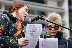 London, UK. 11th February, 2019. Carrie Mitchell (r) from English Collective of Prostitutes (ECP) addresses campaigners against immigration deportations and the Government's hostile environment stage a 'People's Trial of the Home Office' including direct testimonies by individuals affected and performances by musicians and poets.