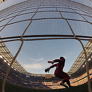 Goalkeeper Luis Robles, New York Red Bulls, warms up before kick off during the New York Red Bulls Vs New England Revolution, MLS Eastern Conference Final, first leg at Red Bull Arena, Harrison, New Jersey. USA. 23rd November 2014. Photo Tim Clayton