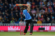 Laurie Evans of Sussex hits a six during the final of the Vitality T20 Finals Day 2018 match between Worcestershire Rapids and Sussex Sharks at Edgbaston, Birmingham, United Kingdom on 15 September 2018.