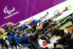 Franc Pinter of Slovenia (2R) competes in the Men's R1-10m Air Rifle Standing shooting Final during Day 3 of the Summer Paralympic Games London 2012 on August 31, 2012, in Royal Artillery Barracks, London, Great Britain. (Photo by Vid Ponikvar / Sportida.com)