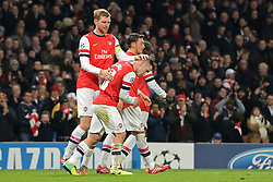 26.11.2013, The Emirates Stadium, London, ENG, UEFA CL, FC Arsenal vs Olympique Marseille, Gruppe F, im Bild Arsenal's Per Mertesacker congratulates Arsenal's Jack Wilshere after he scored the 2nd goal // Arsenal's Per Mertesacker congratulates Arsenal's Jack Wilshere after he scored the 2nd goal during UEFA Champions League group F match between FC Arsenal and Olympique Marseille at the The Emirates Stadium in London, Great Britain on 2013/11/26. EXPA Pictures © 2013, PhotoCredit: EXPA/ Mitchell Gunn<br /> <br /> *****ATTENTION - OUT of GBR*****