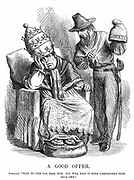 Unification of Italy: Giuseppe Garibaldi (180718-82) trying to persuade Pope Pius IX that the Cap of Liberty would be far more comfortable than the Papal crown. John Tenniel cartoon from 'Punch', London, 29 September 1860. Wood engraving.