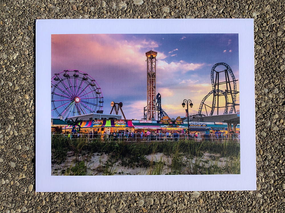 I am happy to announce that I have a limited number of Gallery Boards available of 3 of my popular Ocean City, NJ prints for only $39.95 plus shipping<br /> <br /> Gallery Boards feature the photos printed directly onto 4-ply textured mat board for a Fine Art feel.<br /> <br /> Prints are ready to put on the wall using the included Velcro Dots or for tabletop display. The rigid nature of the mat board also makes Gallery Boards perfect to slip in to a ready-made frame.<br /> <br /> The mat board used is made from 100% recycled content and is 100% recyclable, making it an eco-friendly choice.<br /> <br /> Now I only have 4 (FOUR) of each of these prints.<br /> <br /> Each one of these is signed on the back by me and also stating which print number of 4 it is.<br /> <br /> NOTE: If you live near the Ocean City area I can deliver to your door. This will save you both shipping costs and time ! Email me at michaelwalshpictures@gmail.com for more info about deliver.<br /> <br /> These gallery boards are stunning up close, the photographs here do not due them justice !