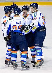 Dejan Zemva, Domen Jemec (R) and Players of Triglav celebrate at SLOHOKEJ league ice hockey match between HK Slavija and HK Triglav Kranj, on February 3, 2010 in Arena Zalog, Ljubljana, Slovenia. Triglaw won 4:1. (Photo by Vid Ponikvar / Sportida)