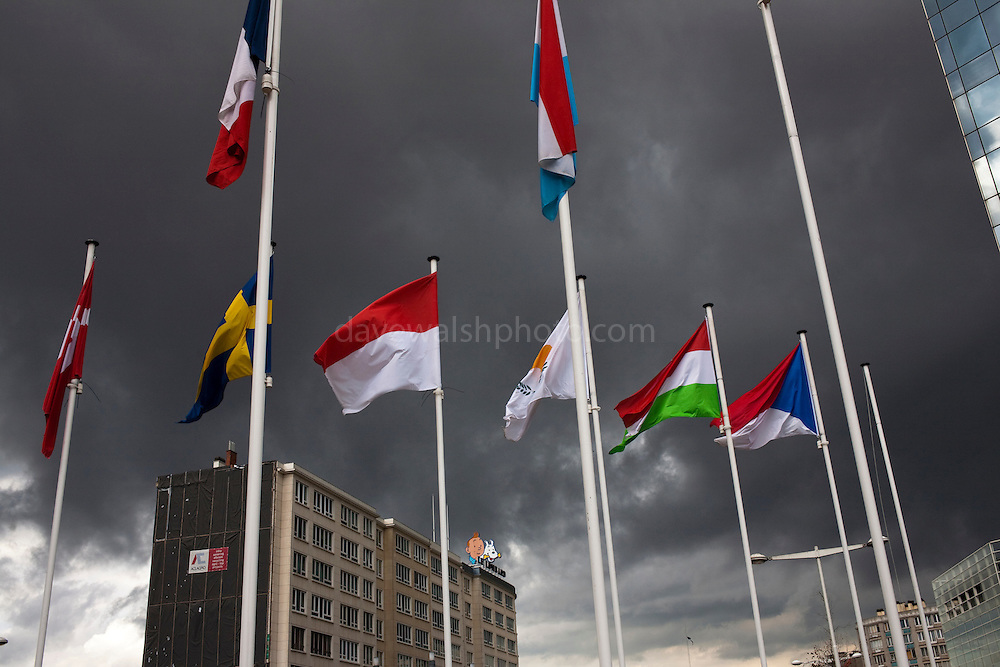 EU flags, stormy weather, Brussels