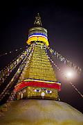 The full moon rises over Boudhanath Stupa, Kathmandu, Nepal to mark Buddha Jayanti (Buddha's birthday) on May 9, 2009.