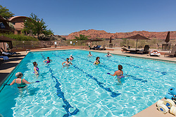 United States, Utah, Ivins, Red Mountain Resort, people in swimming pool doing water aerobics class. PR