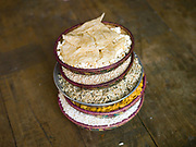 Traditional Bhutanese snacks including maize, popcorn and puffed rice served in bamboo baskets and offered to guests, Yangthang village, Haa valley, Western; Bhutan