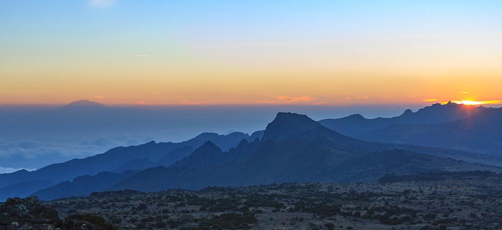 Sunset over the Shira ridge, seen from the slopes of Kilimanjaro on the Lemosho Trail