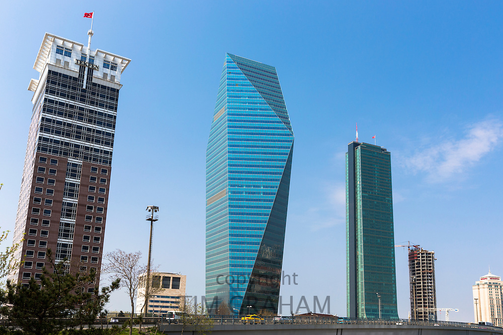 Levent financial business district skyscrapers L to R Tefken Tower, Soyak Tower Center and Sapphire Tower, Istanbul, Turkey