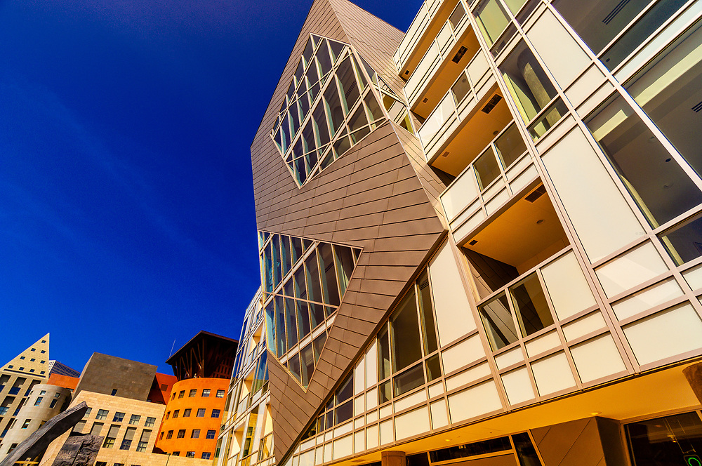 The Museum Residences (condominiums), Denver Central Library in background, Civic Center Cultural Complex, Denver, Colorado USA