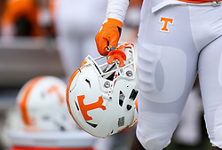 Sep 1, 2018; Charlotte, NC, USA; A Tennessee Volunteers player holds their helmet along the sidelines during the second quarter at Bank of America Stadium. Mandatory Credit: Ben Queen-USA TODAY Sports