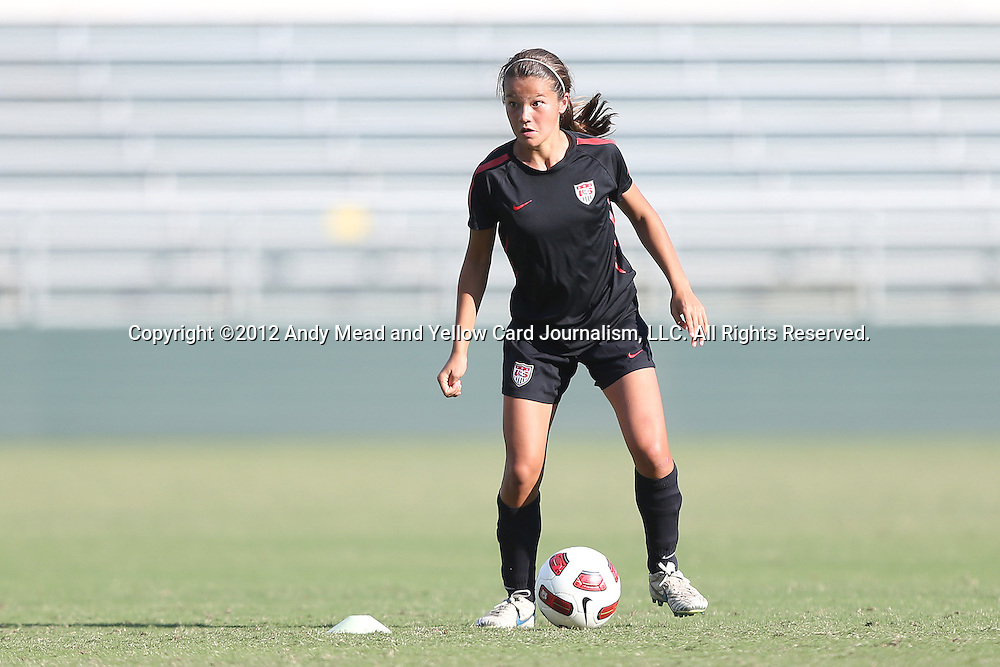 25 October 2012: Samantha Tran. The United States Girl's Under-14 National Team (1988s) held a training camp at WakeMed Soccer Park in Cary, North Carolina.