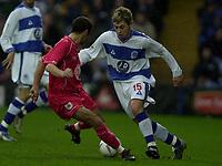 © Peter Spurrier/ SportsBeat Images  020 8 876 8611<br />Photo Peter Spurrier<br />08/03/2003 Football Nationwide Div 2 - QPR v Bristol City<br />Rangers's Lee Cook attacking down the wing runs the ball past Scott Murrey.