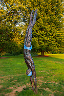 """Old Westbury, New York, U.S., September 1, 2019. """"Athlete III - Deep Plunge"""" is one of 33 outdoor sculptures by Jerzy Kedziora (Jotka), b. 1947 in Poland, and his Balance in Nature art is on view on the grounds of historic Old Westbury Gardens in Long Island, until October 20, 2019. The life-size, bronze resin balancing sculpture, dressed in blue swimwear, appears about to dive into the lawn."""