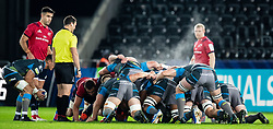 Shaun Venter of Ospreys puts in to the scrum<br /> <br /> Photographer Simon King/Replay Images<br /> <br /> European Rugby Champions Cup Round 1 - Ospreys v Munster - Saturday 16th November 2019 - Liberty Stadium - Swansea<br /> <br /> World Copyright © Replay Images . All rights reserved. info@replayimages.co.uk - http://replayimages.co.uk