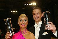 Drammen 05042003 Thomas Kagnes og Nadya Khamitskaya fra Nero (Nedre Rommerike) danseklubb vant kongepokalen i dans lørdag kveld. Flere bilder tilgjengelig.<br /> <br /> Foto: Digitalsport