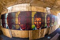 Mural showing an aging Nelson Mandela, Apartheid Museum, Johannesburg, South Africa.
