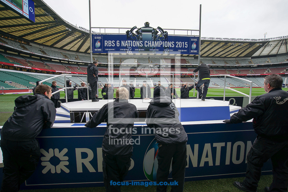 Workers trial-assemble the Champions podium at Twickenham in the event that England win the 6-Nations championship today. Seen before the RBS 6 Nations match at Twickenham Stadium, Twickenham<br /> Picture by Andrew Tobin/Focus Images Ltd +44 7710 761829<br /> 21/03/2015