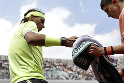 May 27, 2019 - Paris, France - Rafael Nadal of Spain during the man's singles first round of the French Open tennis tournament against Yannick Hanfmann of Germany at Roland Garros in Paris, France on May 27, 2019. (Credit Image: © Ibrahim Ezzat/NurPhoto via ZUMA Press)