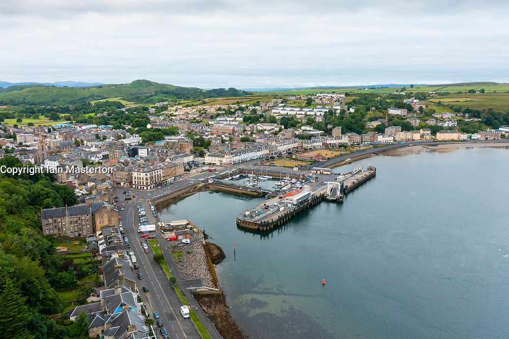 Aerial view from drone of Rothesay on Isle of Bute, Argyll and Bute, Scotland, UK