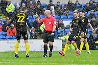 Football - 2019 / 2020 Sky Bet (EFL) Championship - Cardiff City vs. Brentford<br /> <br /> referee Mr James Linington speaks to \22\ in rain, sleet & hail  , at The Cardiff City Stadium.<br /> <br /> COLORSPORT/WINSTON BYNORTH