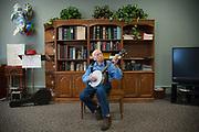 """Bob Martin, """"Banjo Bob"""", playing for seniors at assisted living facility in Bigfork, Montana."""
