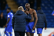 Neil Warnock, the Cardiff city manager jokes with Sol Bamba of Cardiff city at the end of the game. EFL Skybet championship match, Cardiff city v Norwich city at the Cardiff city stadium in Cardiff, South Wales on Friday 1st December 2017.<br /> pic by Andrew Orchard, Andrew Orchard sports photography.