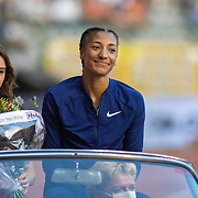 BRUSSELS, BELGIUM:  September 3:   Nafissatou Thiam of Belgium during the athletes parade at the Wanda Diamond League 2021 Memorial Van Damme Athletics competition at King Baudouin Stadium on September 3, 2021 in  Brussels, Belgium. (Photo by Tim Clayton/Corbis via Getty Images)