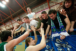 Slobodan Bozovic and Maj Kovacevic with Fans of Lasko after the basketball match between KK Geoplin Slovan and KK Zlatorog Lasko in 4th Quarterfinal of Spar Slovenian Cup, on February 11, 2011 in Sportna dvorana Poden, Skofja Loka, Slovenia. Zlatorog defeated Slovan 79-72. (Photo By Vid Ponikvar / Sportida.com)