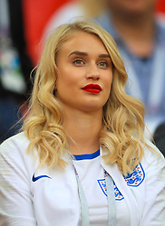 Annabel Peyton, fiancee of England goalkeeper Jack Butland in the stands ahead of the FIFA World Cup 2018, round of 16 match at the Spartak Stadium, Moscow. PRESS ASSOCIATION Photo. Picture date: Tuesday July 3, 2018. See PA story WORLDCUP England. Photo credit should read: Adam Davy/PA Wire. RESTRICTIONS: Editorial use only. No commercial use. No use with any unofficial 3rd party logos. No manipulation of images. No video emulation
