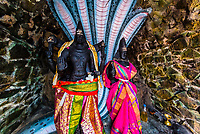 Two sacred statues of Lord Vishnu and Luxmi. Koneswaram temple is a classical-medieval Hindu temple dedicated to Lord Shiva in Trincomalee, Eastern Sri Lanka.