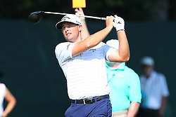 August 25, 2018 - Paramus, NJ, U.S. - PARAMUS, NJ - AUGUST 25:   Brandon Harkins plays his shot from the tenth tee during the third round of The Northern Trust on August 25, 2018 at the Ridgewood Championship Course in Ridgewood, New Jersey.   (Photo by Rich Graessle/Icon Sportswire) (Credit Image: © Rich Graessle/Icon SMI via ZUMA Press)