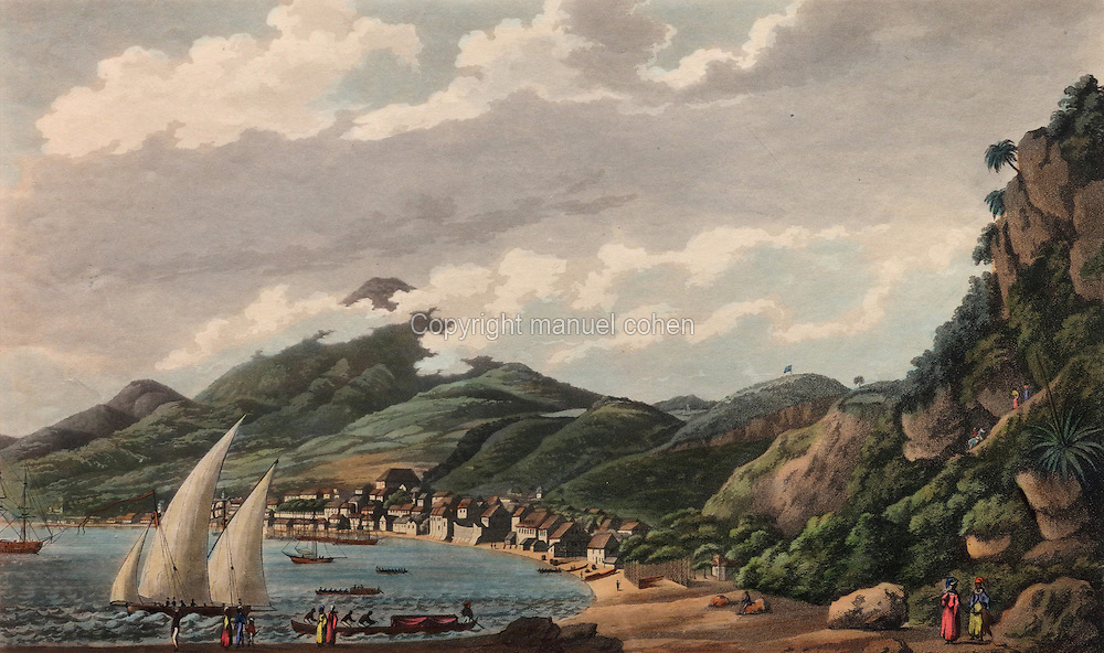 View of the town of Fort Saint Pierre in Martinique, by Samuel Alken, 1756-1815, after Cooper Williams, 1796, engraving, in the Chatillon Collection, in the Musee d'Aquitaine, Cours Pasteur, Bordeaux, Aquitaine, France. Picture by Manuel Cohen