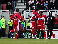 Photo: Andrew Unwin.<br /> Middlesbrough v Tottenham Hotspur. The Barclays Premiership. 18/12/2005.<br /> Middlesbrough celebrate Yakubu (R) scoring the equaliser.