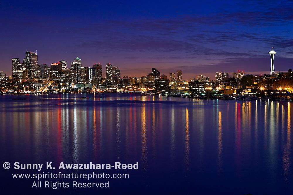 Dusk, Seattle Downtown Skyline, Union Lake, Seattle, WA