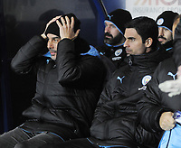 Football - 2019 / 2020 EFL Carabao (League) Cup - Quarter-Final: Oxford United vs. Manchester City<br /> <br /> Manager Pep Guardiola and Man City coach, Mikel Arteta, at Kassam Stadium<br /> <br /> COLORSPORT/ANDREW COWIE