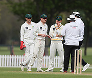 CD players talk to the empires. Canterbury vs. Central Districts Day 2, 1st round of the 2021-2022 Plunket Shield cricket competition at Hagley Oval, Christchurch, on Sunday 24th October 2021.<br /> © Copyright Photo: Martin Hunter/ www.photosport.nz